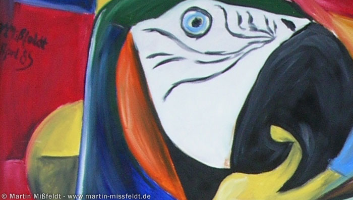 Cubistic parrots (oilpainting) (Detail 1)