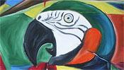 Cubistic parrots (oilpainting) (Detail 2)