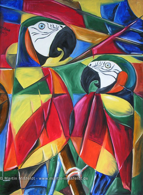 Cubism parrots - 1987, Oil on canvas, 100 x 70 cm