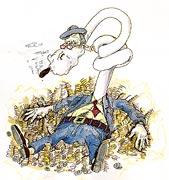 : Capitalist with cigar (cartoon)