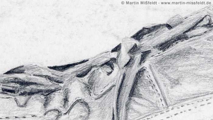 Pencil on paper detail from the picture sport shoe pencil drawing