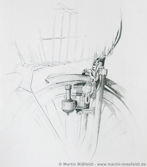 Bike study pencil drawing for Sofa zeichnung
