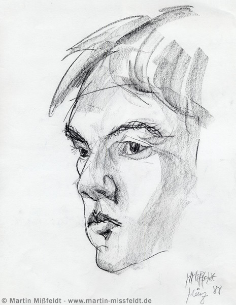 Portrait sketch with charcoal