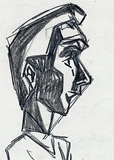 : Scribble a comic figure in profile