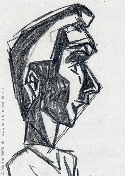 Scribble a comic figure in profile