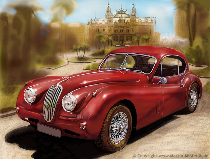Jaguar XK 140 and Monaco Casino - speedart video