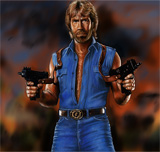 : Cool Chuck Norris with fireguns and jeans
