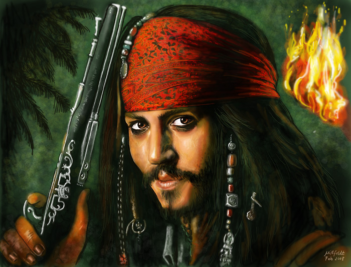 a drawing of jack sparrow johnny depp. Tags: Johnny Depp as Jack
