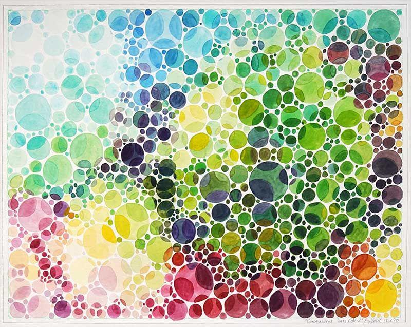 Coronavirus Sars Cov-2 (colour vision test watercolour)