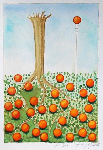 Apple up, near trunk