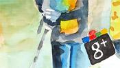 Watercolor Google vs. facebook (Detail 1)