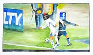 : Watercolor Google vs. facebook