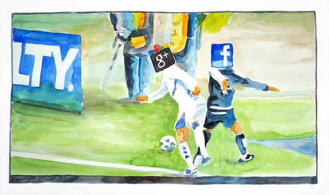 Watercolor Google vs. facebook