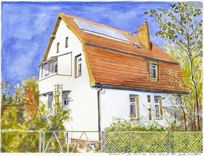 Watercolor painting Our house (Panketal near Berlin)